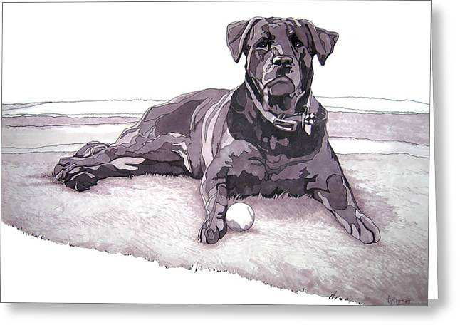 Grayscale Drawings Greeting Cards - Tonka Greeting Card by Tyler Auman