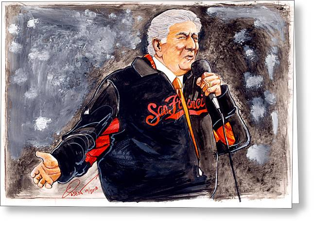 Tony Drawings Greeting Cards - Tony Bennett sings God Bless America at World Series Greeting Card by Dave Olsen