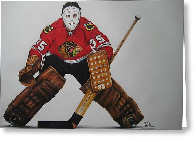 Outdoor Hockey Greeting Cards - Tony Esposito Greeting Card by Brian Schuster