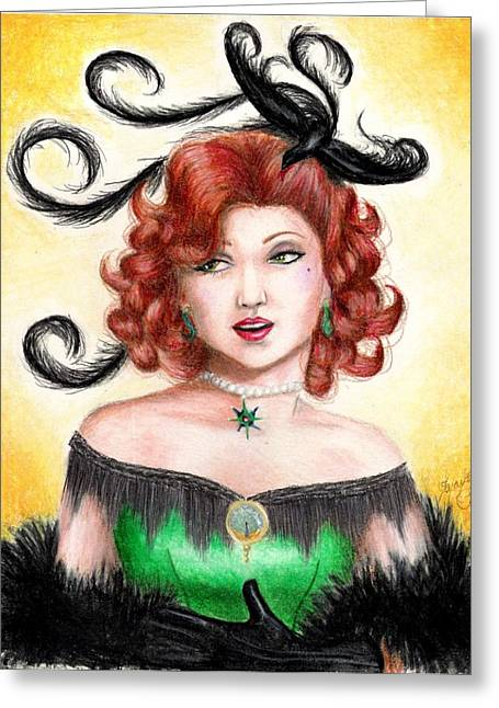 Pendants Drawings Greeting Cards - Tonya Greeting Card by Scarlett Royal