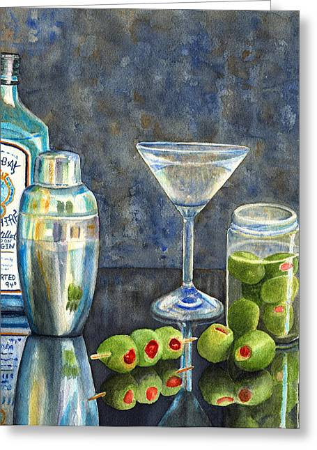 Gin Greeting Cards - Too Many Doubles Greeting Card by Karen Fleschler