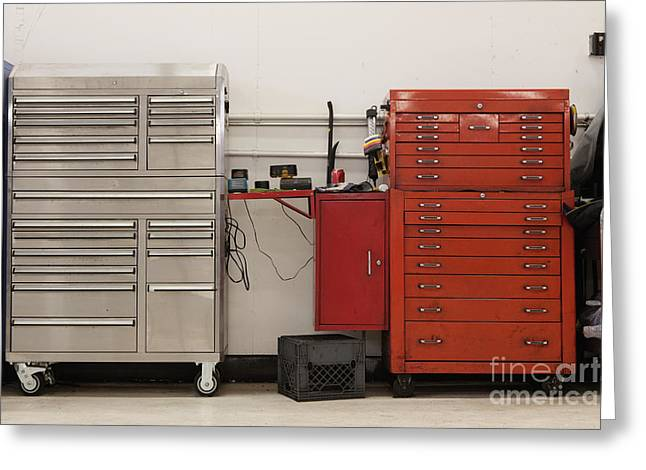 Maintenance Facility Greeting Cards - Tool Chests In An Automobile Repair Shop Greeting Card by Don Mason