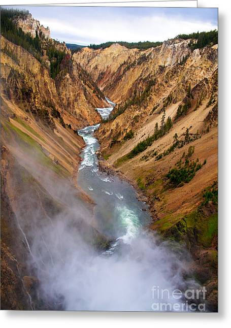 Haybale Greeting Cards - Top of Lower Falls Greeting Card by Robert Bales