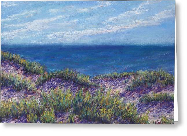 Sand Dunes Pastels Greeting Cards - Top of the Dunes Greeting Card by Erica Keener