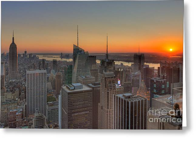 Nast Greeting Cards - Top of the Rock Sunset II Greeting Card by Clarence Holmes