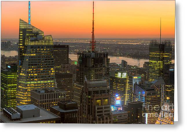Nast Greeting Cards - Top of the Rock Twilight IX Greeting Card by Clarence Holmes