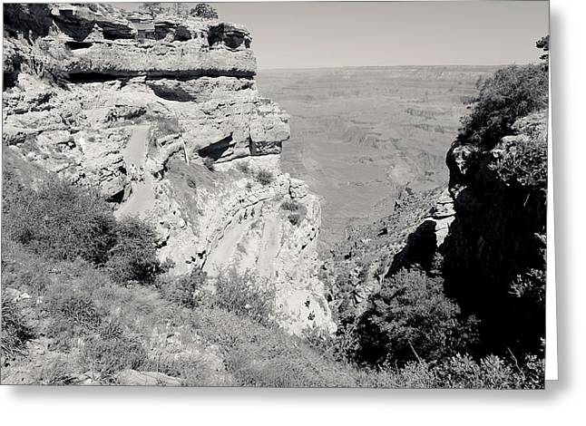 South Kaibab Trail Greeting Cards - Top of the South Kaibab Trail BW Greeting Card by Julie Niemela