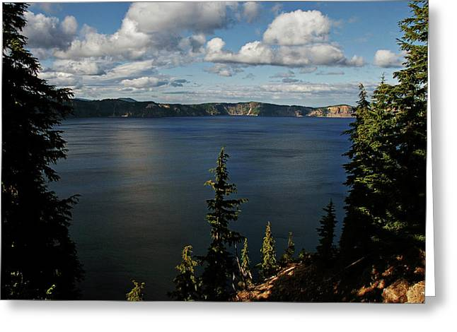 Enchanting Greeting Cards - Top wow spot - Crater Lake in Crater Lake National Park Oregon Greeting Card by Christine Till
