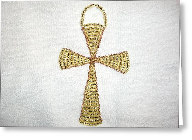 Topaz Wall Hanging Glass Beaded Suncatcher Copper Cross Greeting Card by Serendipity Pastiche
