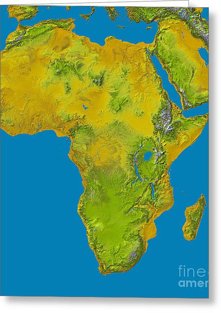 Relief Map Greeting Cards - Topographic View Of Africa Greeting Card by Stocktrek Images