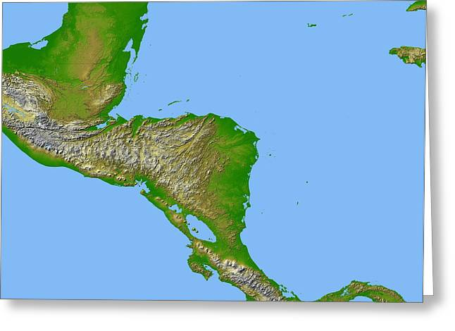 El Salvador Greeting Cards - Topographic View Of Central America Greeting Card by Stocktrek Images