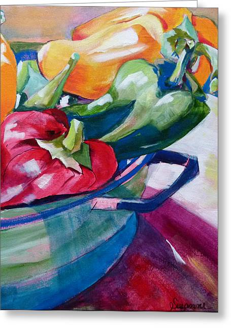 Suzanne Willis Greeting Cards - Toppling Bell Peppers Greeting Card by Suzanne Willis