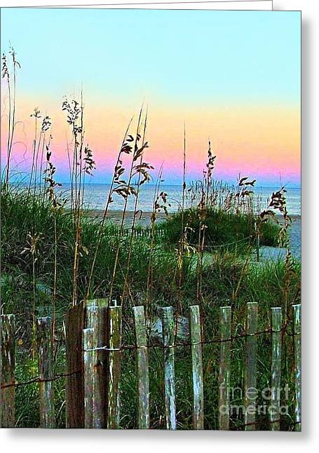 Julie Dant Greeting Cards - Topsail Island Dunes and Sand Fence Greeting Card by Julie Dant