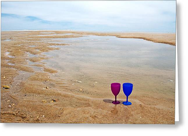 Glass Cup Greeting Cards - Topsail Island Paradise Greeting Card by Betsy C  Knapp