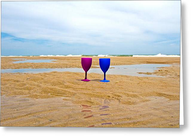 Glass Cup Greeting Cards - Topsail Island Wine Glasses Greeting Card by Betsy C  Knapp