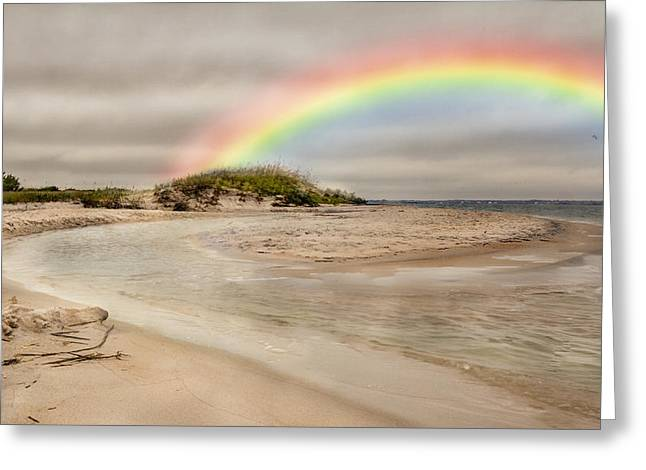 Topsail Island Greeting Cards - Topsail Rainbow Greeting Card by Betsy C  Knapp