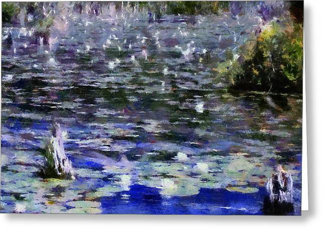 Lilly Pads Digital Art Greeting Cards - Torch River Water Lilies ll Greeting Card by Michelle Calkins