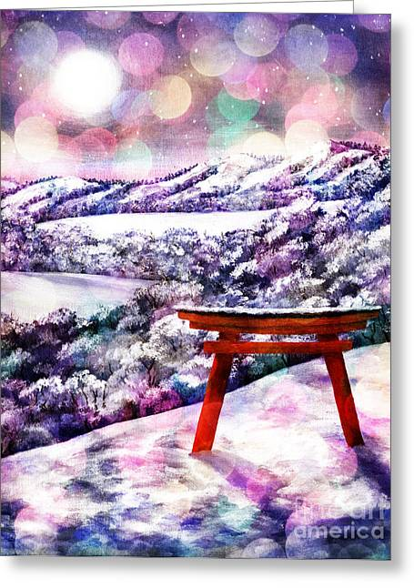 Shinto Greeting Cards - Torii in Rainbow Snowfall Greeting Card by Laura Iverson
