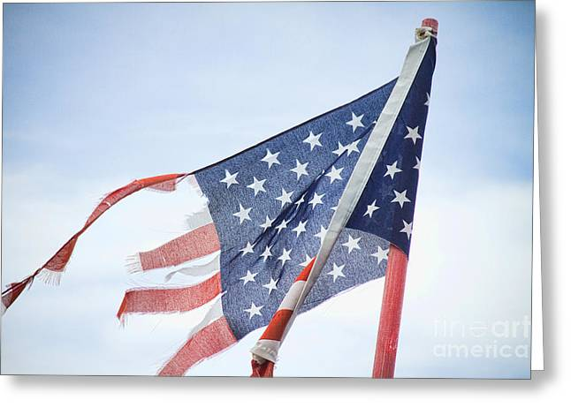 """nature Photography Prints"" Greeting Cards - Torn American Flag Greeting Card by James BO  Insogna"