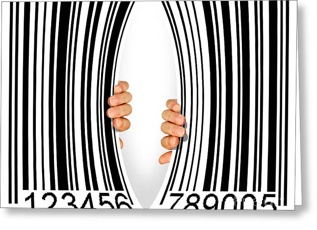 Debt Greeting Cards - Torn Bar Code Greeting Card by Carlos Caetano