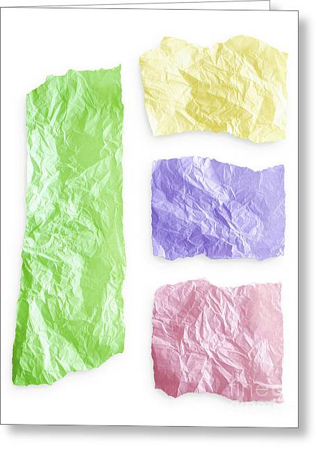 Green Abstract Greeting Cards - Torn colorful paper Greeting Card by Blink Images