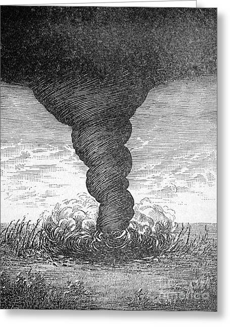 Funnel Clouds Greeting Cards - Tornado, 1881 Greeting Card by Science Source