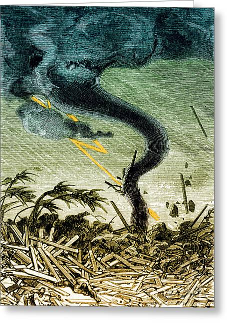 Funnel Clouds Greeting Cards - Tornado, 19th Century Greeting Card by Photo Researchers