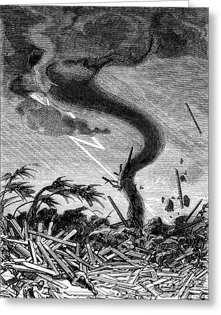 Funnel Clouds Greeting Cards - Tornado, 19th Century Greeting Card by Science Source