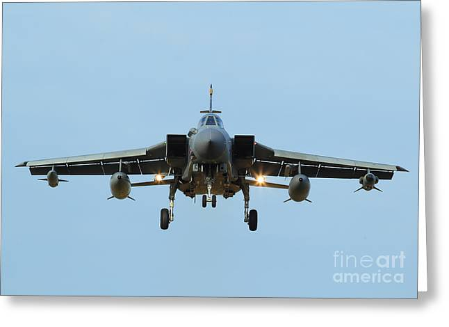 Clare Scott Greeting Cards - Tornado GR4 on the Approach Greeting Card by Clare Scott