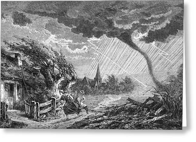 The Houses Greeting Cards - Tornado, Historical Artwork Greeting Card by
