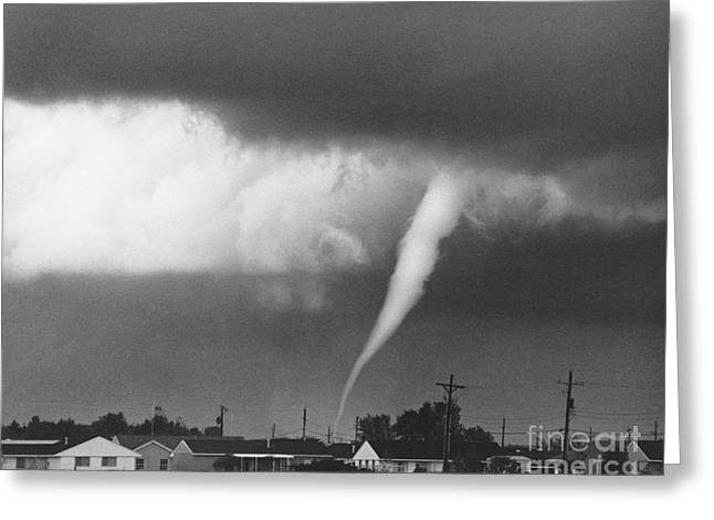 Funnel Clouds Greeting Cards - Tornado in Indiana Greeting Card by David Petty and Photo Researchers