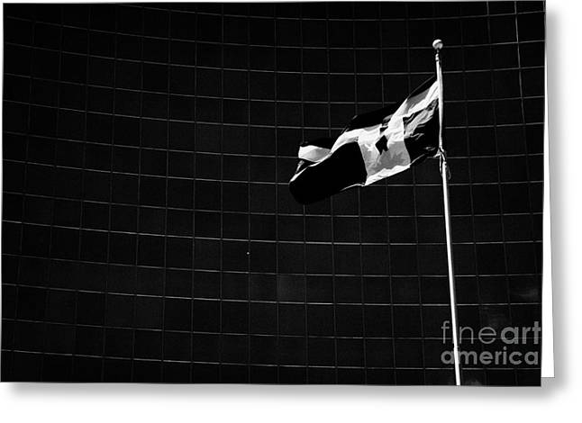 College Street Greeting Cards - Toronto City Flag In Front Of The Ontario Power Generation Opg Building Toronto Ontario Canada Greeting Card by Joe Fox