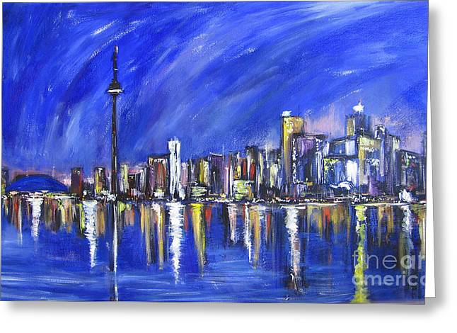Town Mixed Media Greeting Cards - Toronto Greeting Card by Debora Cardaci