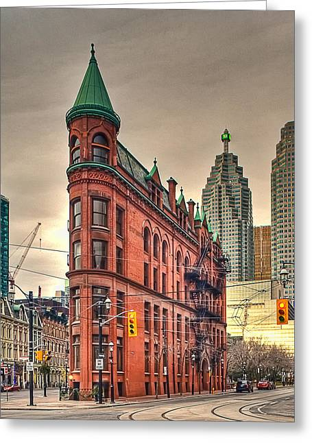 Historical Buildings Greeting Cards - Toronto Flatiron Building Greeting Card by Theo Tan