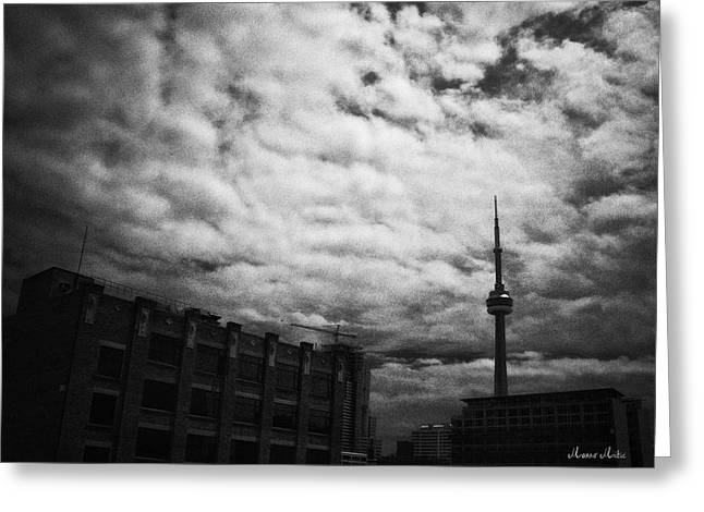 Mitic Greeting Cards - Toronto Morning Black and White Greeting Card by Marko Mitic