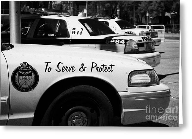Squad Car Greeting Cards - Toronto Police Squad Cars Outside Police Station In Downtown Toronto Ontario Canada Greeting Card by Joe Fox