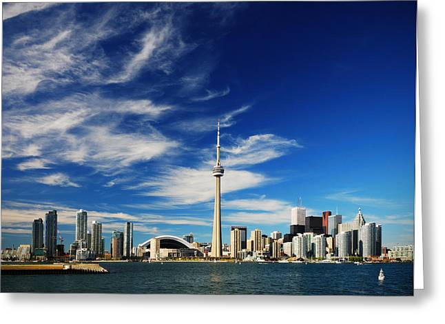 Landscape Photographs Greeting Cards - Toronto skyline Greeting Card by Andriy Zolotoiy