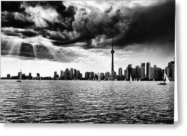 Lake Ontario Greeting Cards - Toronto Skyline Silhouette Greeting Card by Frank Iusi