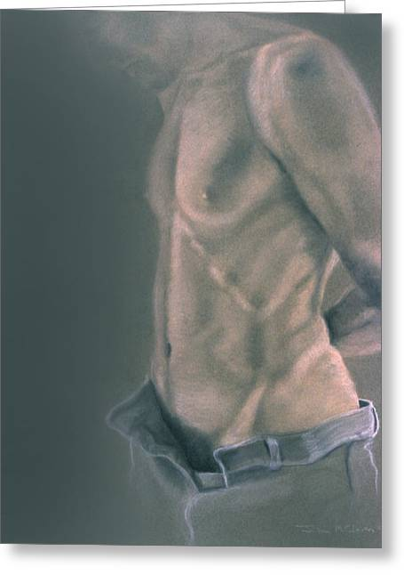 John Clum Greeting Cards - Torso with Jeans Greeting Card by John Clum