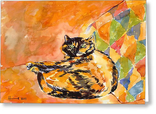 Cat Prints Paintings Greeting Cards - Tortoiseshell Cat Greeting Card by Catherine Martha Holmes