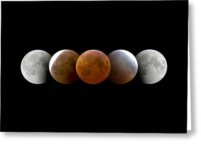 March Moon Greeting Cards - Total Lunar Eclipse, Montage Image Greeting Card by Dr Juerg Alean