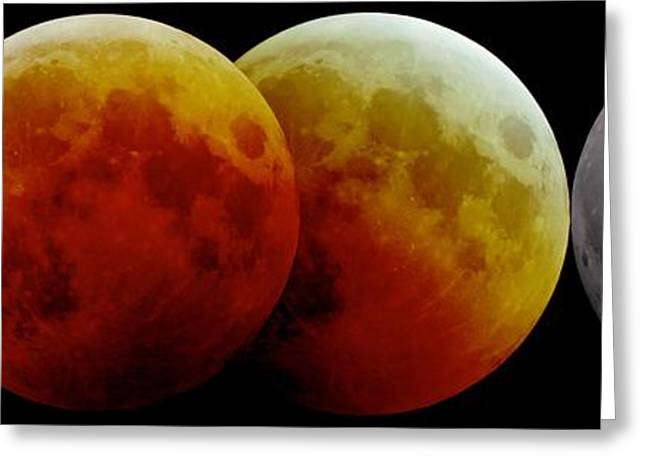 21st Greeting Cards - Total Lunar Eclipse, Montage Image Greeting Card by Laurent Laveder