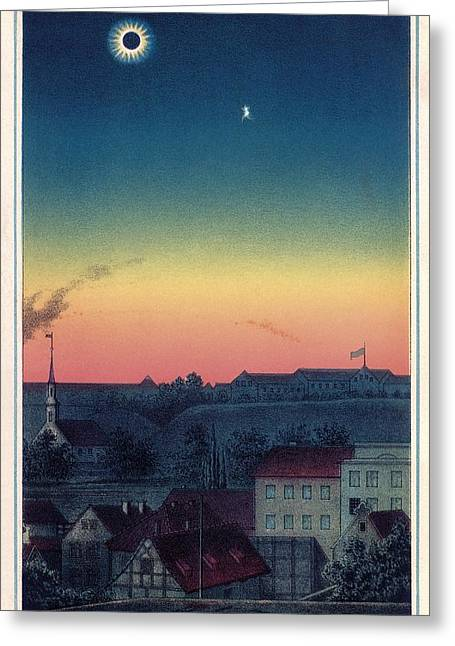 Solar Eclipse Greeting Cards - Total Solar Eclipse, 1851 Artwork Greeting Card by Detlev Van Ravenswaay