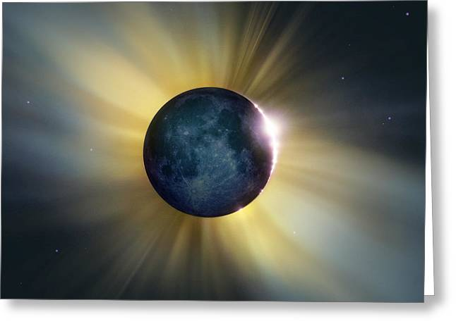Total Solar Eclipse Greeting Card by Detlev Van Ravenswaay