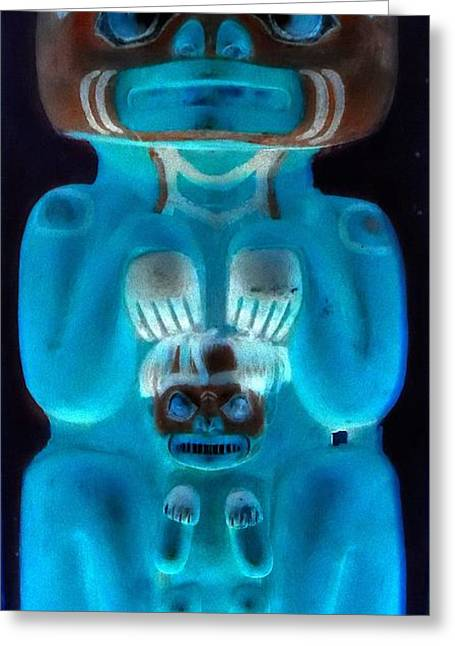 Wood Carving Digital Art Greeting Cards - Totem 1 Greeting Card by Randall Weidner