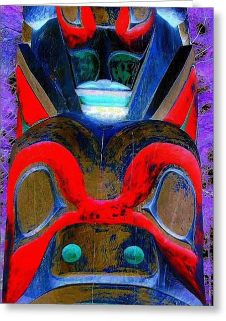 Wood Carving Greeting Cards - Totem 11 Greeting Card by Randall Weidner