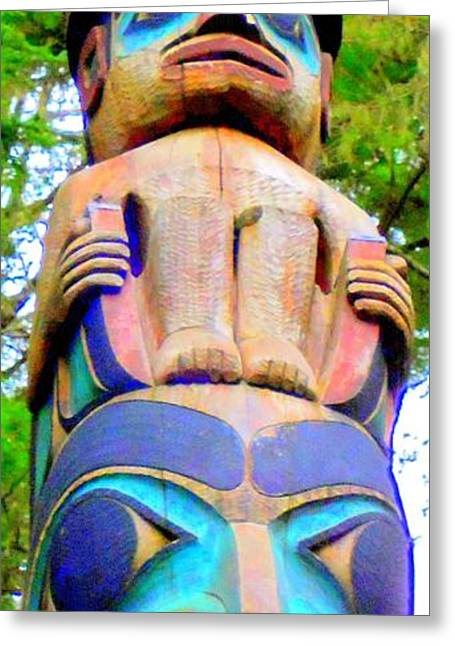 Wood Carving Greeting Cards - Totem 12 Greeting Card by Randall Weidner