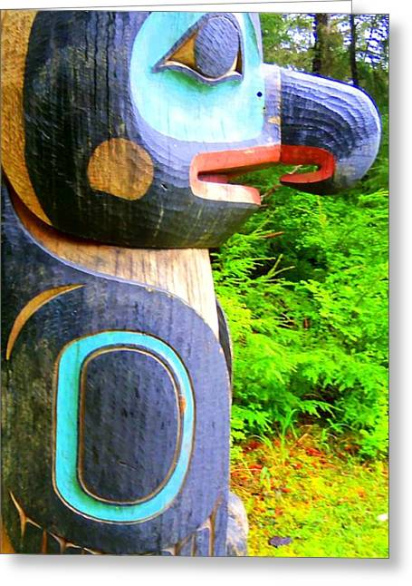 Wood Carving Greeting Cards - Totem 13 Greeting Card by Randall Weidner