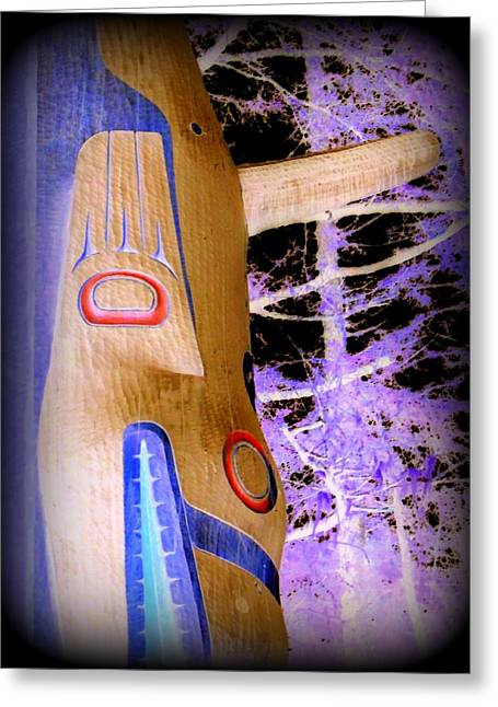 Wood Carving Greeting Cards - Totem 16 Greeting Card by Randall Weidner