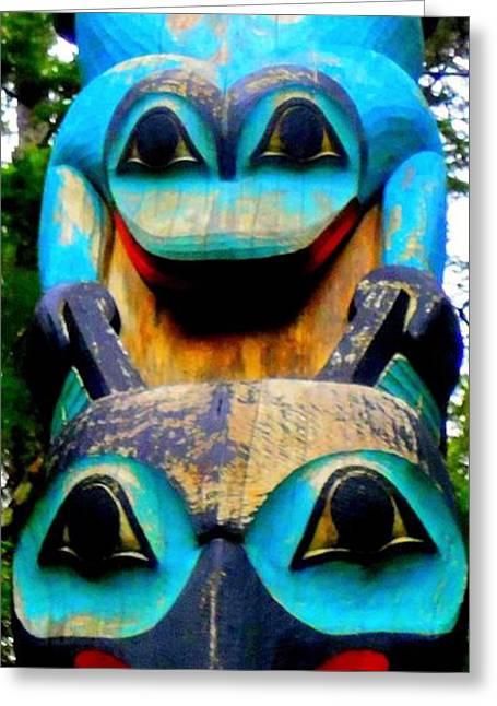 Wood Carving Greeting Cards - Totem 17 Greeting Card by Randall Weidner